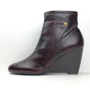 Franco Sarto Vegan Leather Wedged Ankle Booties